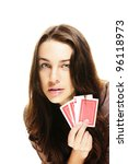 gorgeous woman holding poker... | Shutterstock . vector #96118973