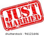 grunge just married rubber...   Shutterstock .eps vector #96121646