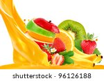 fruit mix isolated on white...   Shutterstock . vector #96126188