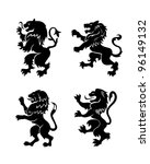 angry lions logo silhouettes... | Shutterstock .eps vector #96149132