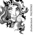 psychedelic graffiti girl... | Shutterstock .eps vector #96150563