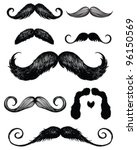 hand drawn mustache set | Shutterstock .eps vector #96150569
