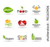 icon set of healthy eating.... | Shutterstock .eps vector #96163406