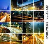 traffic in modern city at night | Shutterstock . vector #96168530