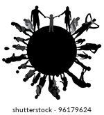 frame with family silhouettes. | Shutterstock . vector #96179624