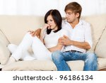 beautiful young couple conflict ...   Shutterstock . vector #96186134