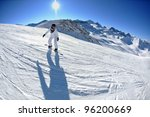 skier skiing downhill on fresh... | Shutterstock . vector #96200669