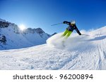 skier skiing downhill on fresh... | Shutterstock . vector #96200894