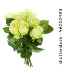 Green roses bouquet. Isolated on white background - stock photo