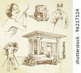 vintage petrol station   hand... | Shutterstock .eps vector #96217124