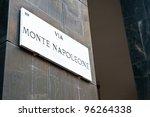 Via Monte Napoleone Sign ...