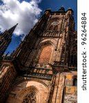 Details of St. Vitus Cathedral in Prague - stock photo