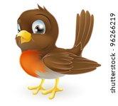 Stock vector drawing of a cute cartoon robin bird standing 96266219