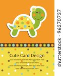 Cute Baby Card With Nice Turtl...