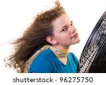 a girl sitting in front of a... | Shutterstock . vector #96275750