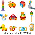 vector toy icons. baby toys | Shutterstock .eps vector #96287960