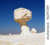 Famous  limestone formation like a mushroom and a chicken in White desert, Sahara, Egypt - stock photo