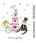 doodle bride and groom with a... | Shutterstock . vector #96301862