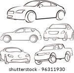 cars silhouettes | Shutterstock .eps vector #96311930