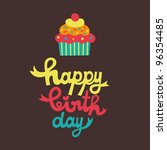 cute happy birthday card with... | Shutterstock .eps vector #96354485