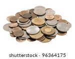 A small pile of 1, 5, 10 and 50 New Taiwan dollar coins. - stock photo