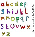 cartoon pencil shaped alphabet | Shutterstock . vector #96364364
