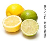 Lemons and Limes isolated on a white studio background. - stock photo