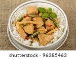 Kaeng Phet - Thai Red Chicken Curry & Jasmine Rice - stock photo