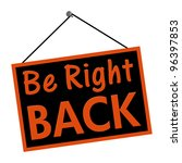 a black and orange sign with... | Shutterstock . vector #96397853