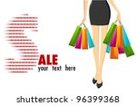 illustration of lady with shopping bag coming from sale - stock vector