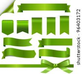 Green Ribbons Set, Isolated On White Background, Vector Illustration