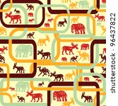 seamless pattern with animals - stock vector