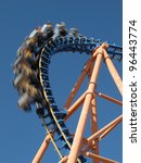 moving roller coaster with blue ... | Shutterstock . vector #96443774