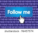follow me button with hand... | Shutterstock .eps vector #96457574