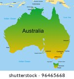 Detailed vector map of australian continent