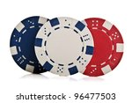 poker chips isolated on a white ... | Shutterstock . vector #96477503