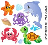 Stock vector sea fishes and animals collection vector illustration 96530836