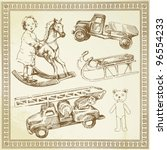 antique toys   hand drawn set | Shutterstock .eps vector #96554233