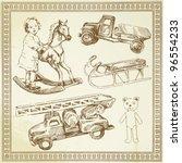 antique toys   hand drawn set   Shutterstock .eps vector #96554233