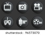 media icons on black internet... | Shutterstock .eps vector #96573070