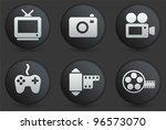 media icons on black internet...   Shutterstock .eps vector #96573070