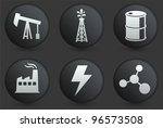oil icons on black internet... | Shutterstock .eps vector #96573508