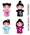 Cute Geisha Set Isolated On...