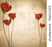 Vintage grunge floral background with red poppies - stock vector