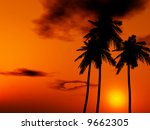 tropical sunset | Shutterstock . vector #9662305