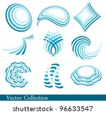 set of blue abstract elements
