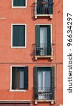 Colorful windows in Venice, Italy - stock photo