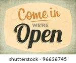 retro vintage open sign with... | Shutterstock .eps vector #96636745