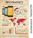 retro vector set of infographic ... | Shutterstock .eps vector #96636754