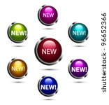 vector glossy new buttons in 7...